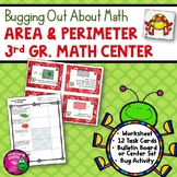 Area & Perimeter Task Card Math Center & Bug Activity 3rd Grade