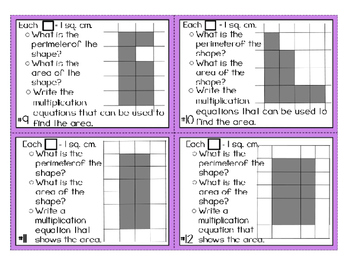 Area Perimeter Task Cards 3rd Grade CCSS Math: Geometric Measurement