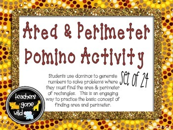 Area & Perimeter Task Cards - Domino Activity Set of 24