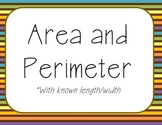 Area Perimeter Task Cards Engage NY Module 3 Grade 4 Vocab