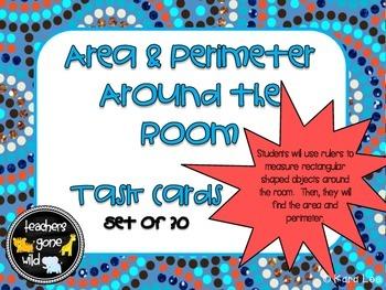 Area & Perimeter Task Cards - Measure Around the Room