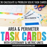 52 Area & Perimeter Task Cards for Customary & Metric Measurement