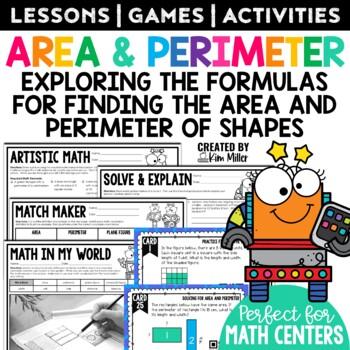 Area & Perimeter Task Cards: Math Center, Scoot Game, Test Prep