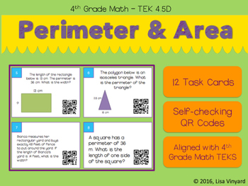 Area and Perimeter Task Cards with QR Codes