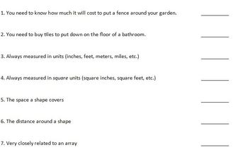 Area & Perimeter Test and Practice Test (Aligned to Common Core)