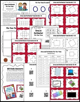 Area and Perimeter Game | Includes Task Cards with QR Codes
