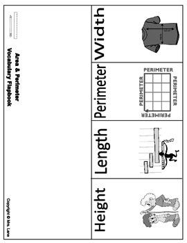 Area & Perimeter Vocabulary Flapbooks