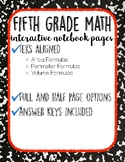 Area, Perimeter & Volume: 5th Grade Math Interactive Notebook Pages