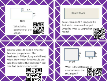 Area, Perimeter, Volume, Lines and Angles QR Codes