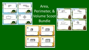 Area, Perimeter, & Volume Scoot Activity/Task Card Bundle