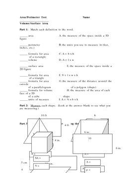 Area, Perimeter, Volume, Surface Area TEST