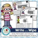 Area, Perimeter, Volume: Write and Wipe Task Cards
