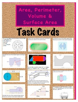 Area, Perimeter, Volume, and Surface Area Task Cards