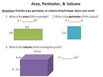 Area, Perimeter, Volume (assessment, worksheet, or homework)
