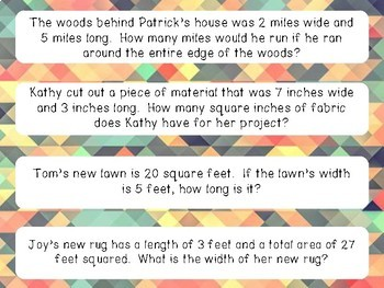 Area and Perimeter Word Problem Sort - 3.MD.C.7