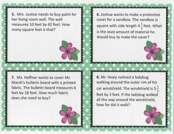 Area & Perimeter Word Problem Task Cards