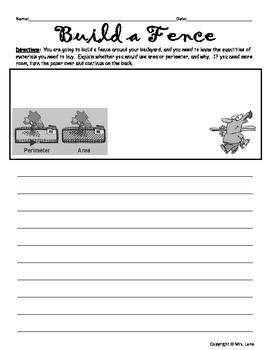 Area & Perimeter Writing Prompt Worksheets