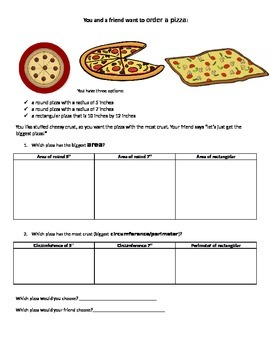 Area, Perimeter, and Circumference! Ordering Pizzas! Circl
