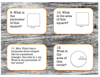 Area, Perimeter, and Circumference Task Cards