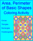 Area, Perimeter, and Circumference of Basic Shapes Coloring Activity
