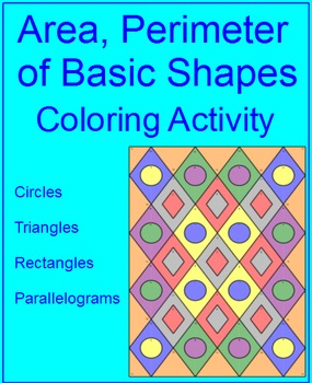 Area, Perimeter, and Circumference of Basic Shapes Colorin