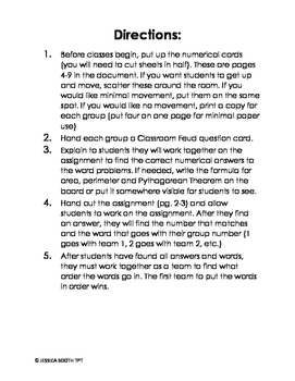 Area, Perimeter and Pythagorean Theorem Word Problems (missing piece)