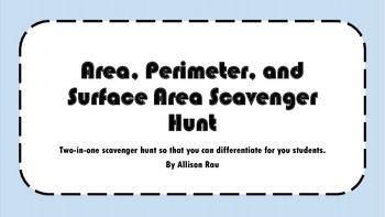 Area, Perimeter and Surface Area Scavenger Hunt