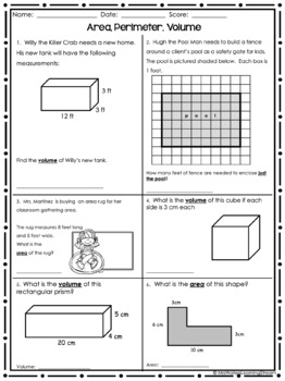 Area, Perimeter, and Volume 10 Questions