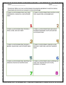 Area, Perimeter, and Volume: Create Your Own Word Problems Activity