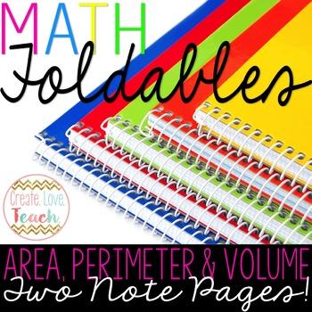 Area, Perimeter and Volume Foldables