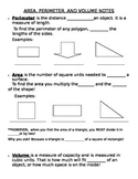 Area, Perimeter, and Volume Interactive Notes