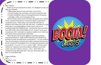 Area, Perimeter, and Volume:  Oh My! TEKS 5.4G and 5.4H BOOM Task Cards