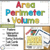 Area, Perimeter and Volume Posters, Activities, Task Cards and Practice Pages