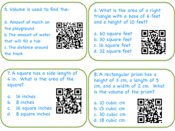 Area, Perimeter, and Volume QR Task Cards