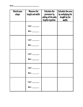 Area, Perimeter, and Volume Recording Pages