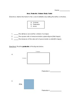 Area, Perimeter, and Volume Anchor Chart & Study Guide