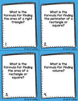 Area, Perimeter, and Volume Task Cards