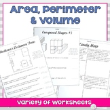 Area Perimeter and Volume Worksheets