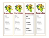 Area, Perimeter and Volume formula bookmark