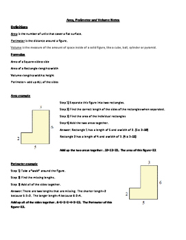 Area, Perimeter and Volume notes