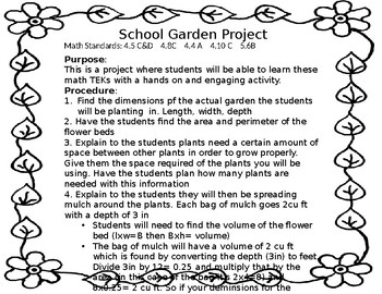Area, Perimeter, and cost Garden Project