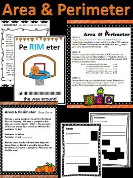 Halloween-themed Area & Perimeter differentiated assignments and poster