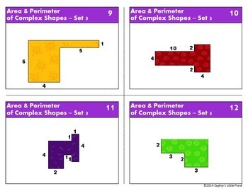 Area & Perimeter of Complex Shapes - Set 3 {Math Task Cards}