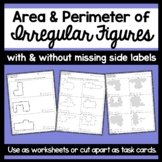 Area & Perimeter of Irregular Figures Worksheets- with and without missing sides