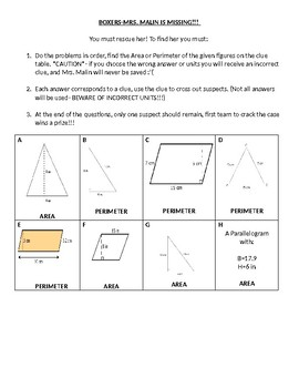 Area & Perimeter of Parallelograms & Triangles SAVE THE TEACHER- 2 Sets
