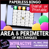 Area & Perimeter of Rectangles Digital Bingo Game - Distance Learning