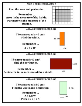 Area & Perimeter of Rectangles Task Cards