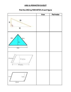 Area & Perimeter of Triangles & Parallelograms Quiz