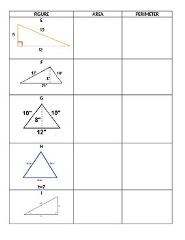 Area & Perimeter of Triangles & Parallelograms Scavenger Hunt