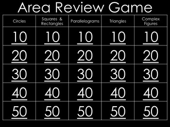 Area PowerPoint Review Game